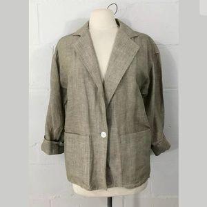 Vintage Lillie Rubin Linen Blend Blazer Lt Brown